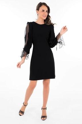 AYHAN Kadın Kolları Volanlı Elbise