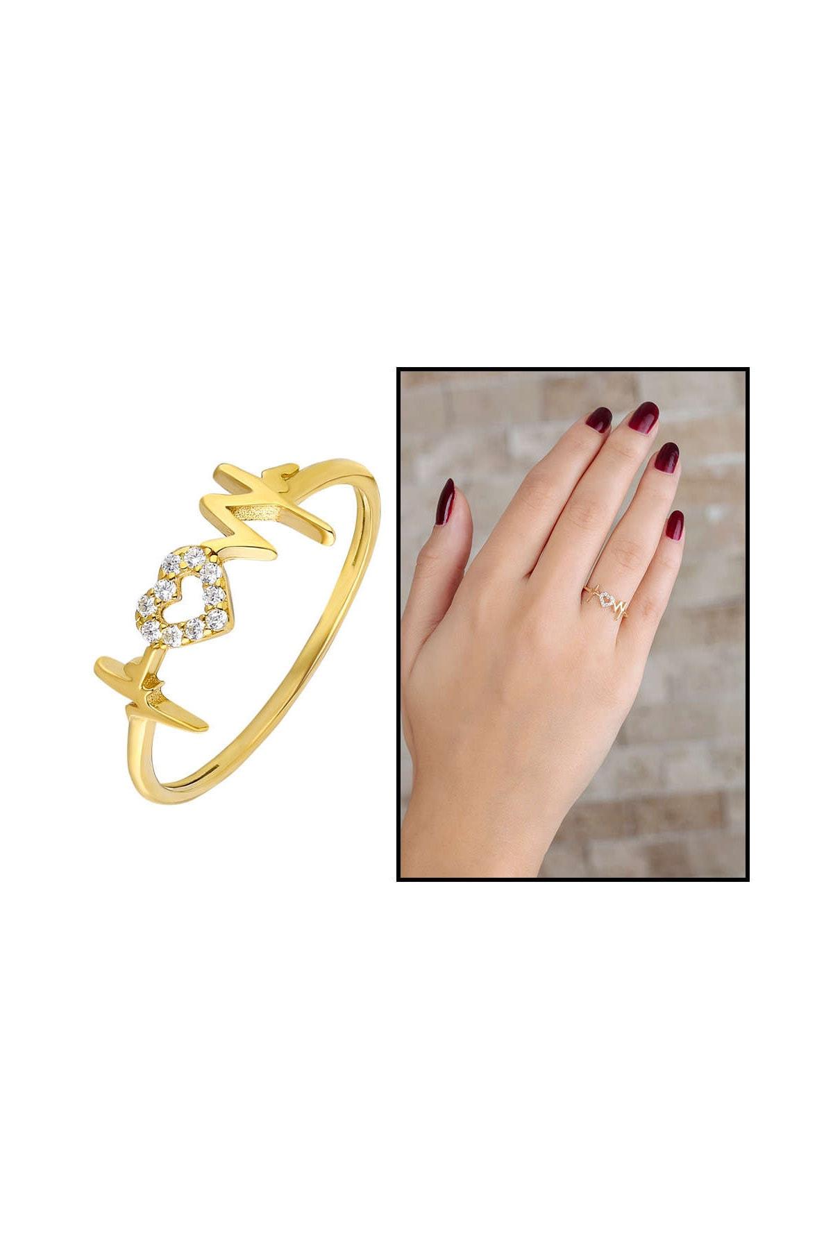 Tesbihane Zirkon Taşlı Kalp-Ritim Tasarım Gold Renk 925 Ayar Gümüş Bayan Yüzük 102001677 1