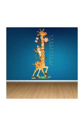 KT Decor Zürafa-kaplan-maymun Boy Ölçer Çocuk Odası Sticker