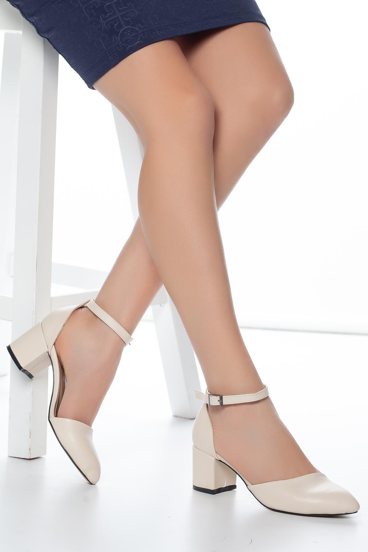 MUGGO Krem Kadın Klasik Topuklu Ayakkabı DPRGZHWD708