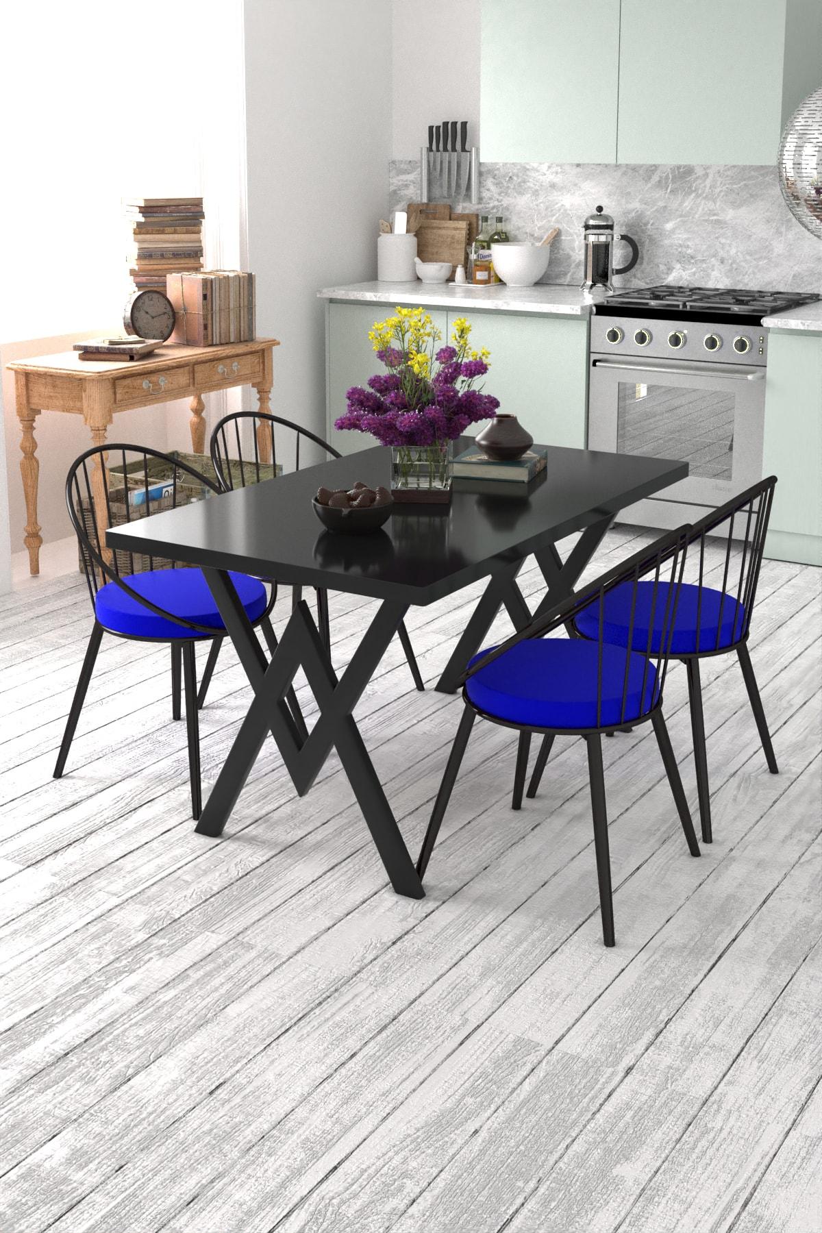 Evdemo Eylül 4 Kişilik Mutfak Masası Takımı Siyah Mavi 1