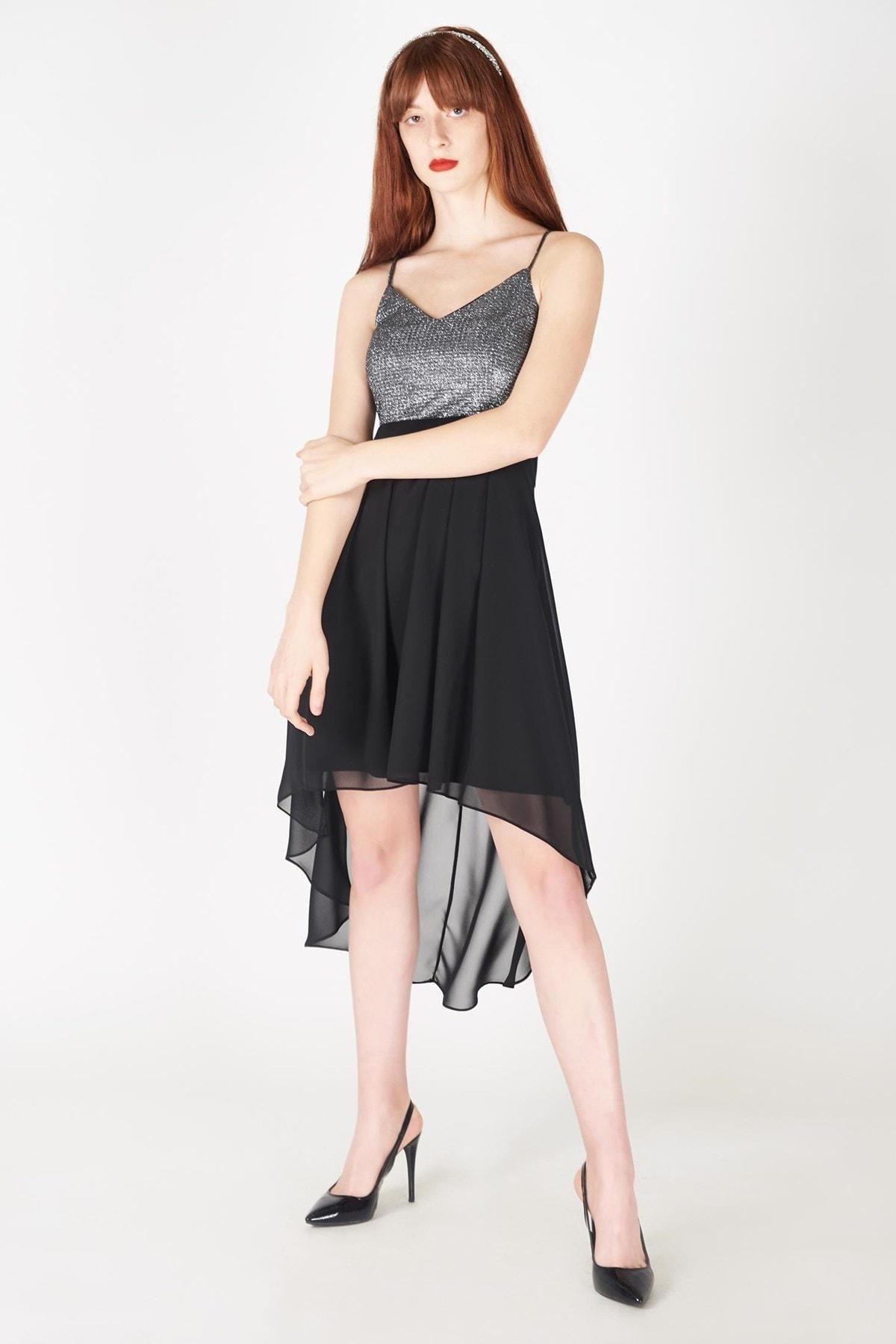Addax Kadın Siyah Gümüş Üst Simli Şifon Elbise E5193-091 ADX-0000017100