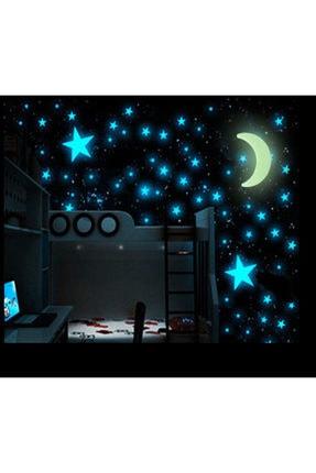 Bundera 100 Adet Fosforlu Yıldız Ay Gezegen Gökyüzü Karanlıkta Parlayan Çocuk Odası Duvar Tavan Süsü Sticker