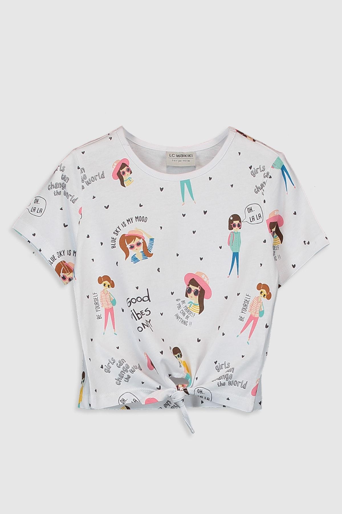 LC Waikiki Kız Çocuk Beyaz Baskılı Lu7 Tişört 1