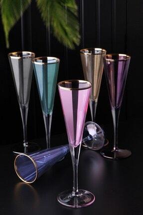 Olcay Home Renkli Kahve Yanı Su Bardağı  6 Lı