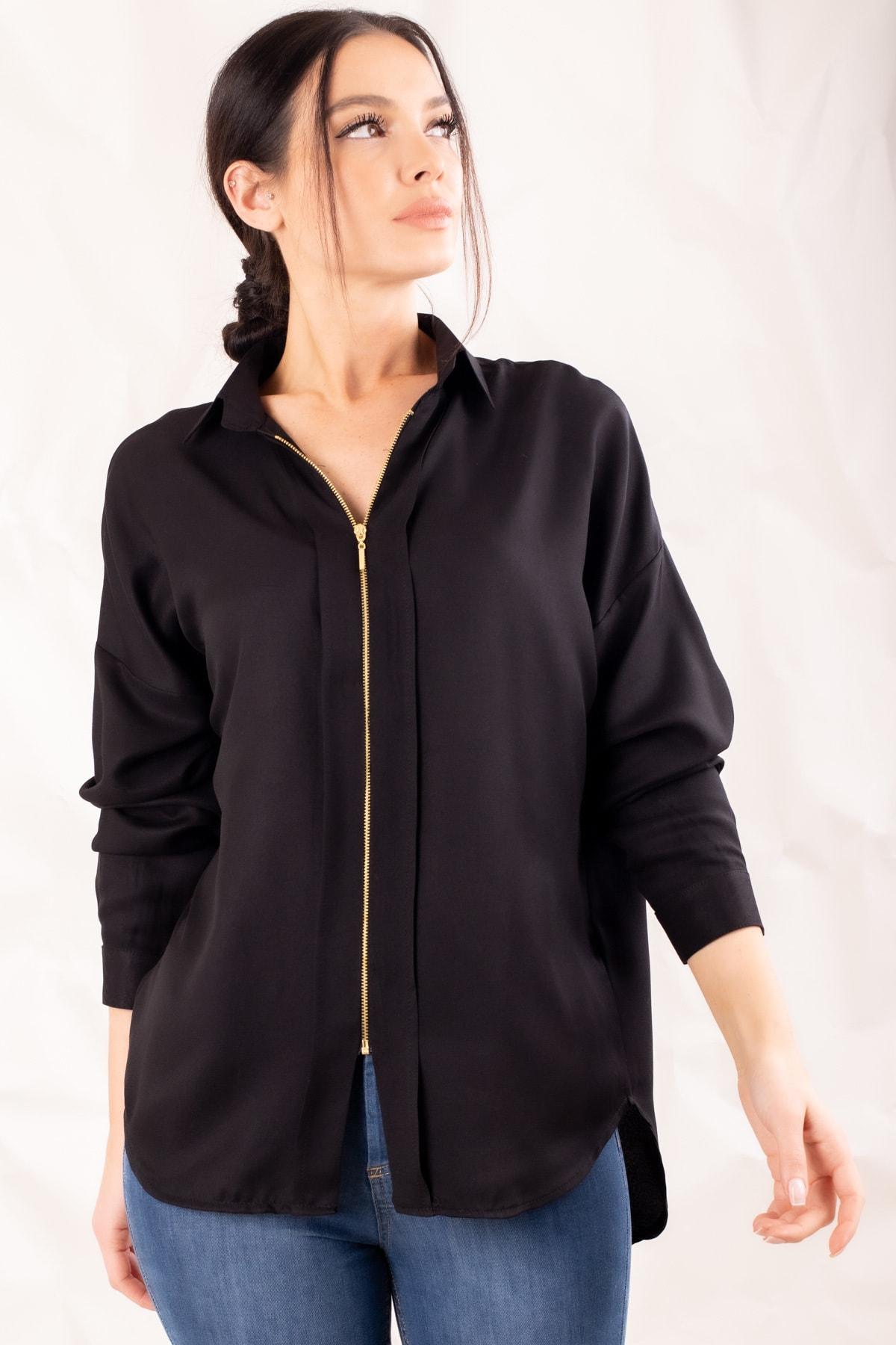 armonika Kadın Siyah Fermuarli Gömlek ARM-20K001149 2