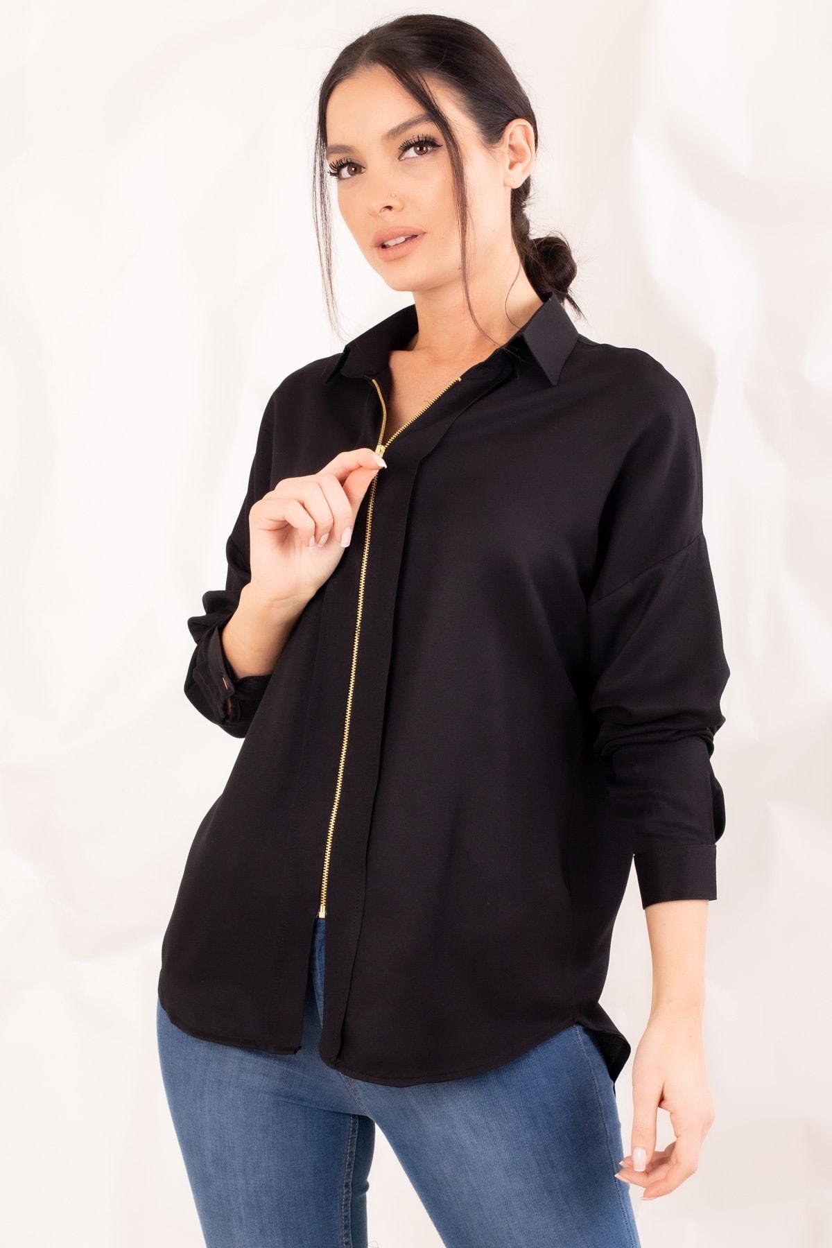 armonika Kadın Siyah Fermuarli Gömlek ARM-20K001149 1