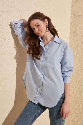 TRENDYOLMİLLA Mavi Boyfriend Gömlek TWOAW20GO0115