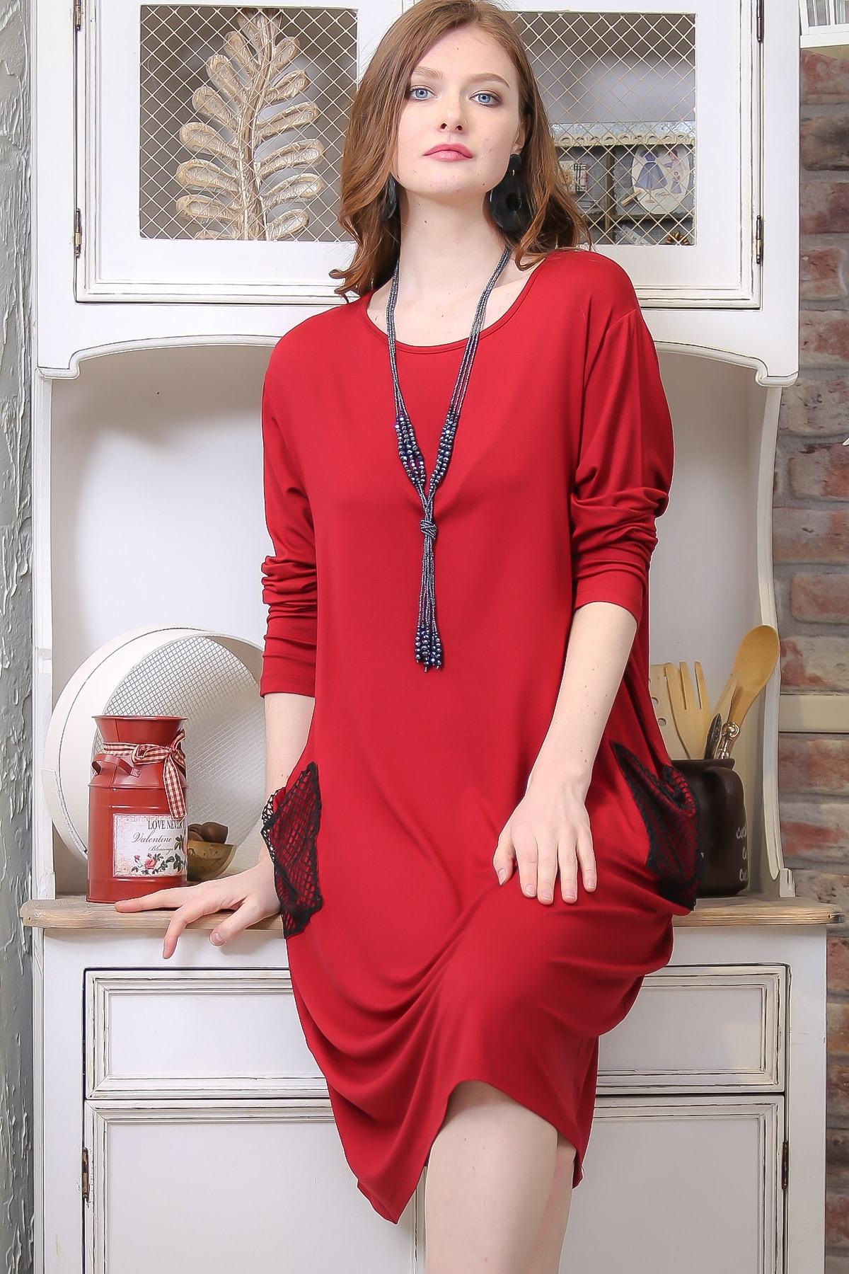 Chiccy Kadın Kırmızı Retro File Cep Detaylı Salaş Elbise M10160000EL97335