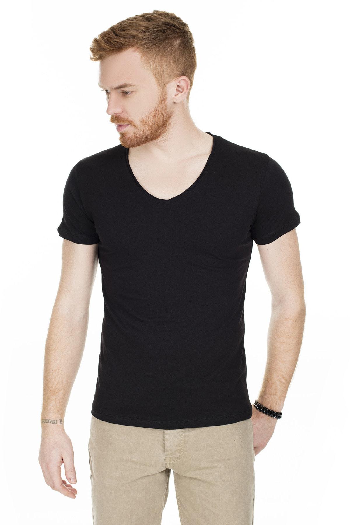 Buratti Erkek Siyah V Yaka Pamuklu Basic T Shirt 54154