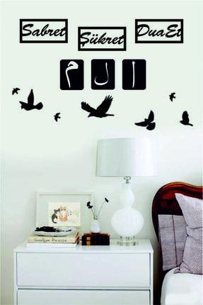 evdeucuz Sabret,şükret,dua Et 6lı Set+dekoratif Kuş 7 Adet