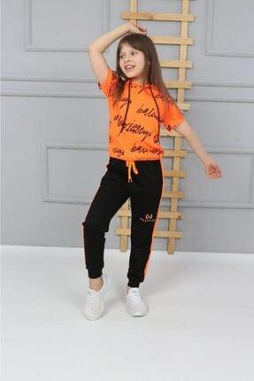 BEYAZ KELEBEK Kız Çocuk Neon Kapşonlu Eşofman Takımı