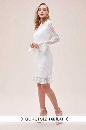 Oleg Cassini Kadın Beyaz Dantel İşlemeli İspanyol Kollu Sırt Dekolteli Kısa Nikah Elbisesi SDWG0772