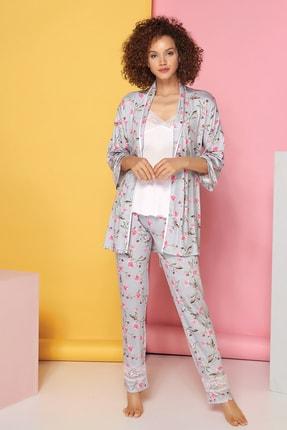 Sevim Kadın Çiçekli Kısa Kol 3'Lü Pijama Takımı