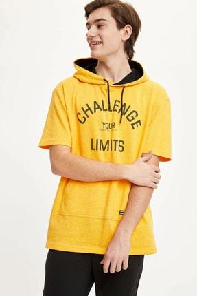 DeFacto Kapüşonlu Baskılı Kısa Kollu Spor Sweatshirt