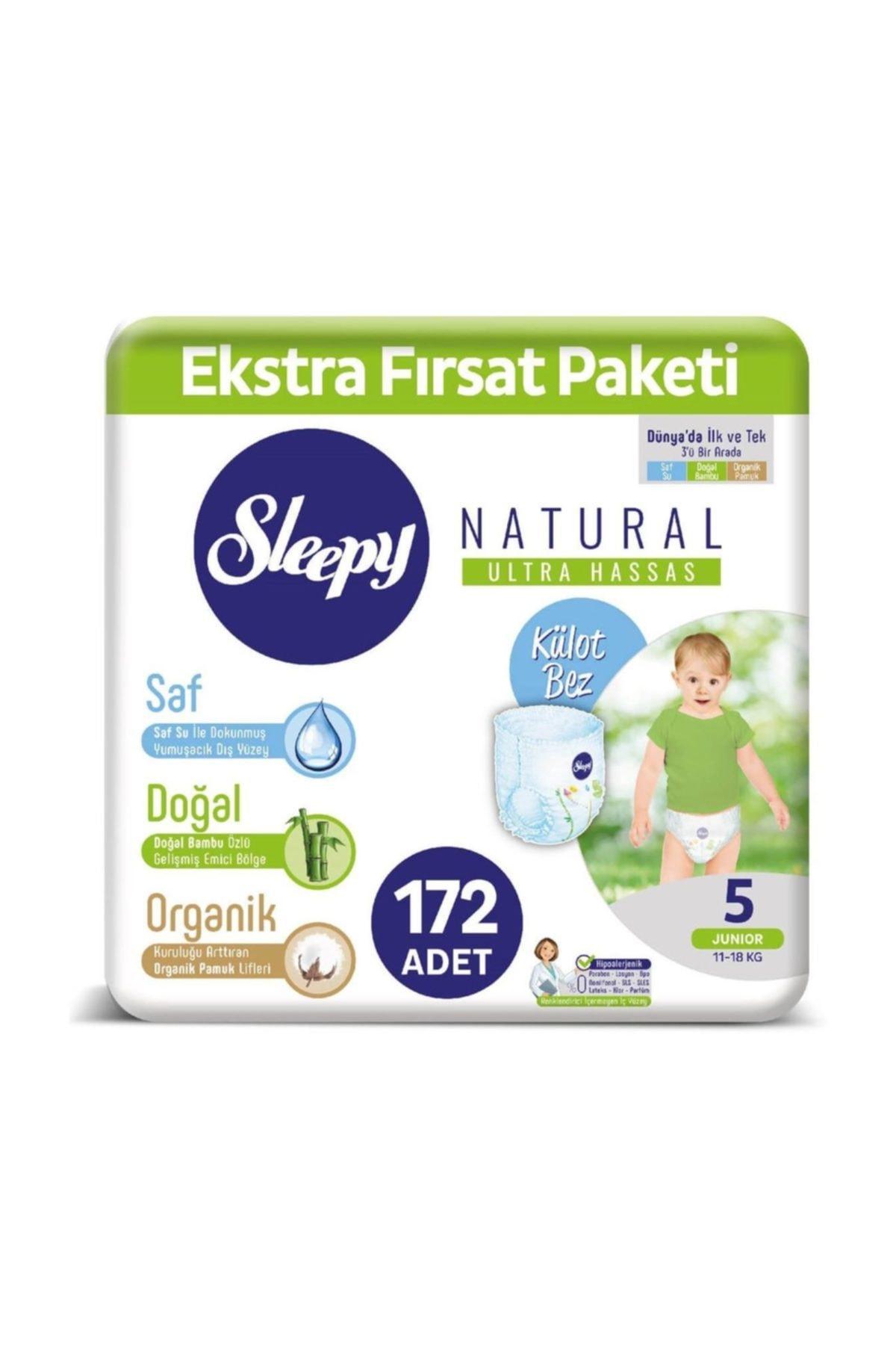 Sleepy Natural Külot Bez 5 Numara Junior Ekstra Fırsat Paketi 172 Adet 1