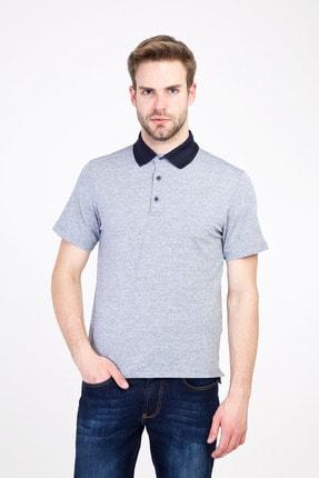 Kiğılı Erkek Açık Lacivert Polo Yaka Regular Fit Desenli Tişört