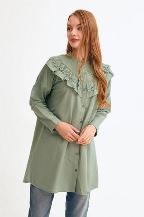 Fulla Moda Yakası Fırfırlı Dantelli Tunik
