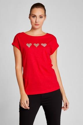 Vekem Kadın Kırmızı Sim Baskılı Pamuklu Bluz 8113-0022