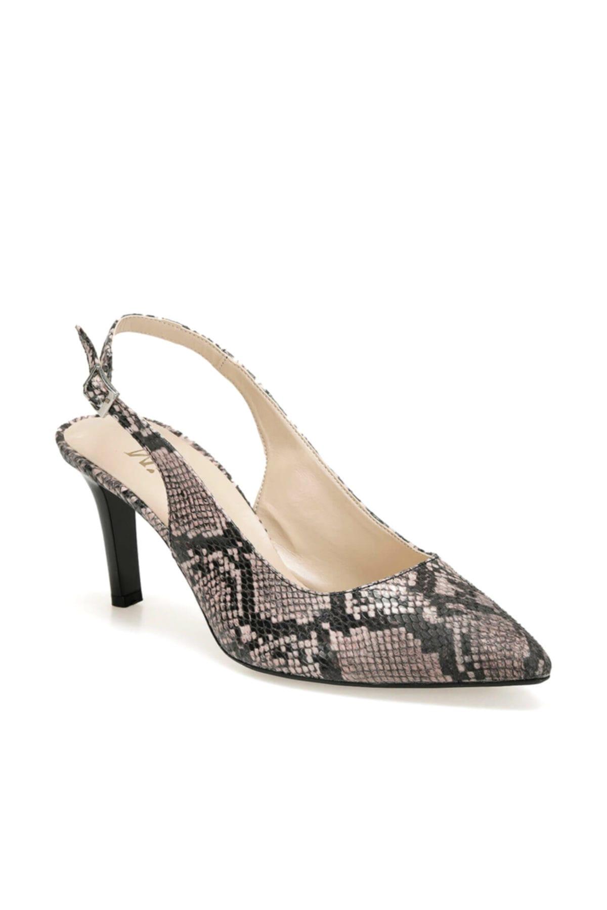 Miss F Ds19150 Yılan Rengi Pudra Kadın Ayakkabı 100443292 1