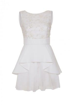 GİZİA Kadın Beyaz Mini Elbise M18Y5W2001XLI