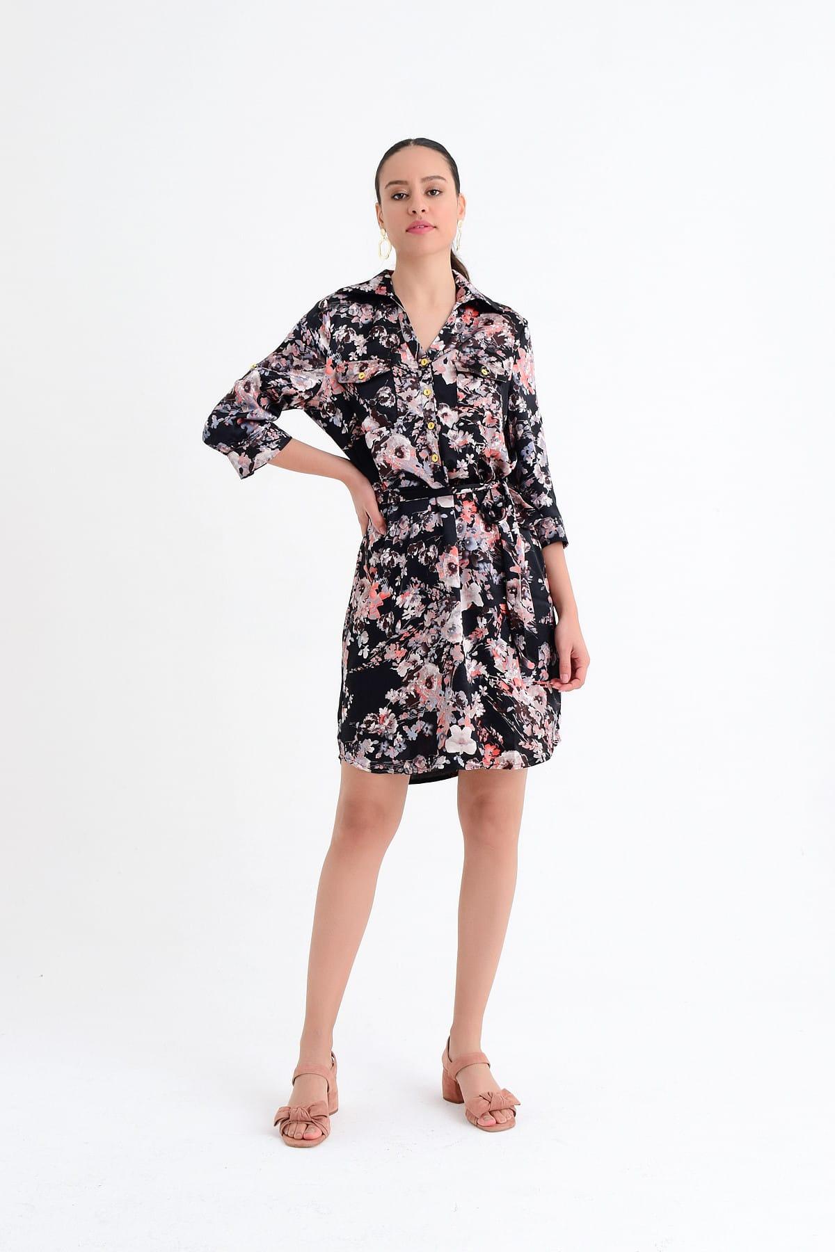 Hanna's by Hanna Darsa Kadın Siyah Çiçek Desenli Diz Üstü Gömlek Elbise HN1832 1