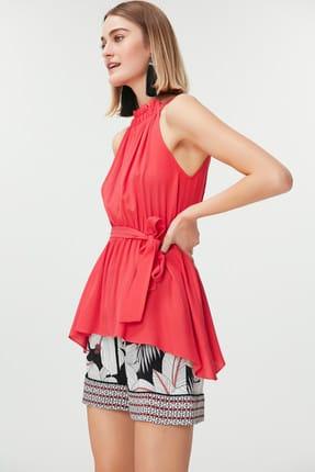 İpekyol Kadın Mercan Mercan Yaka Detaylı Kuşaklı Bluz IS1190006214108