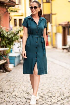 armonika Kadın Petrol Beli Kemerli Kısa Kol Gömlek Elbise ARM-19Y001068