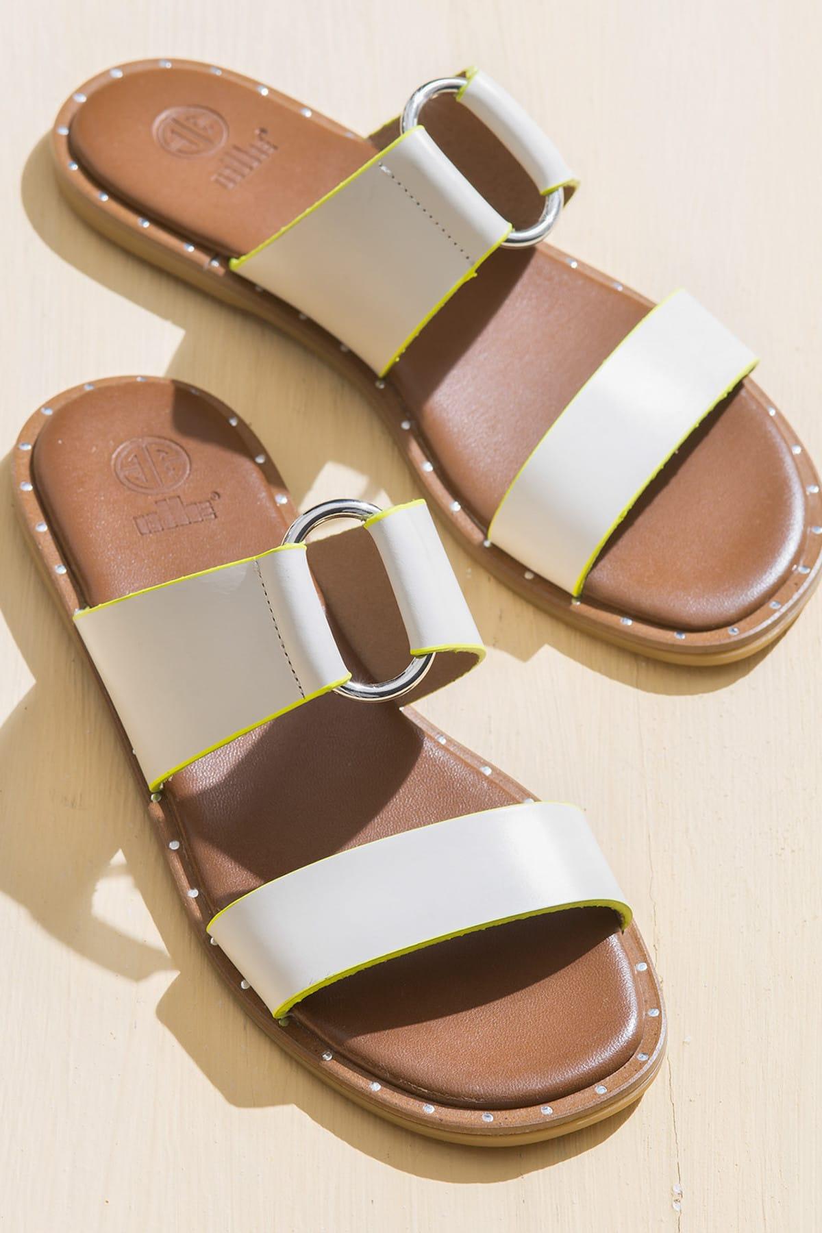 Elle Shoes BRYONY Beyaz Kadın Terlik 1