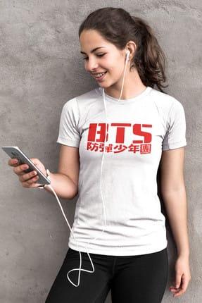 Rock & Roll BTS Beyaz Kısa Kollu Kadın Bayan Tişört