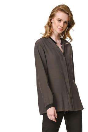 Mizalle Kadın Kahverengi Yakası Siyah Ribanalı Bluz 19YGMZL1012020