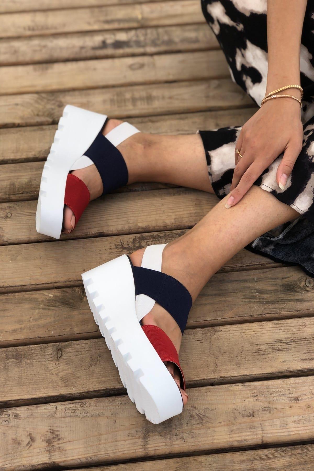 Pembe Potin Lacivert Kırmızı Kadın Sandalet A900-19 1