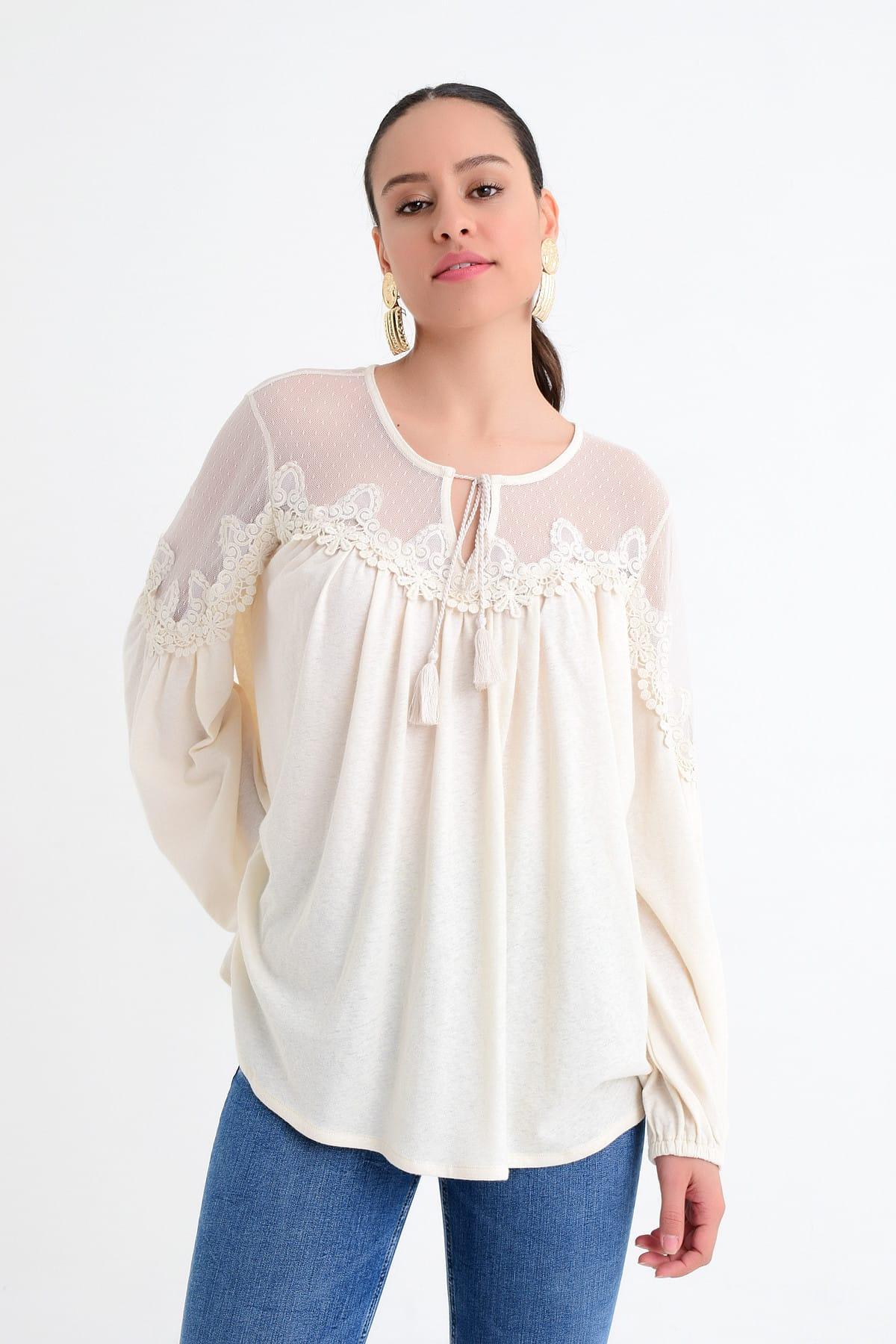 Hanna's by Hanna Darsa Kadın Beyaz Tül Detaylı Dantelli Uzun Kollu Bluz HN1746 1