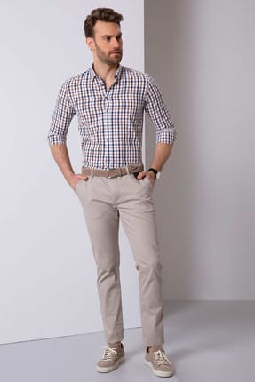 Pierre Cardin Erkek Bej Slim Fit Chino Pantolon