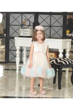 ChatonDor 1-5 Yaş Kız Çocuk Ekru Abiye Elbise