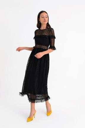 Hanna's by Hanna Darsa Kadın Siyah Dantel Ve Fırfır Detaylı Gögüsü Ve Eteği Astarlı Elbise HN1543
