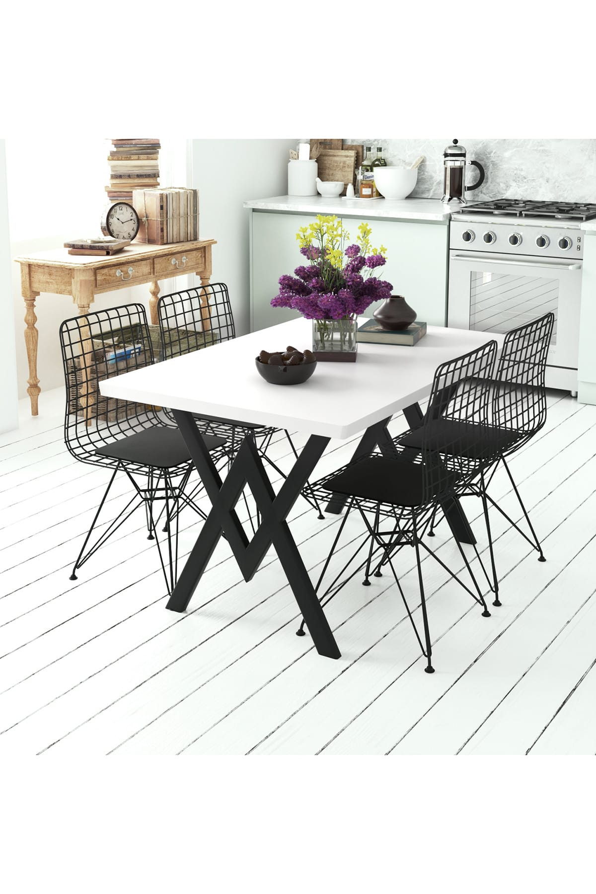 Evdemo Parla 4 Sandalyeli Mutfak Masası Beyaz 1
