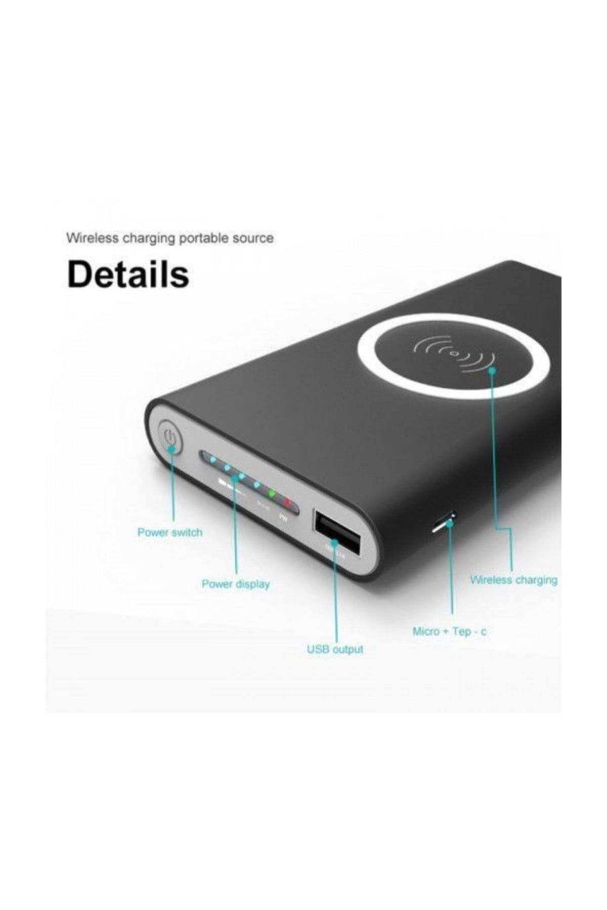PROTECH Pro B10 Kablosuz Powerbank Taşınabilir Şarj Cihazı 10000 Mah Gri 2
