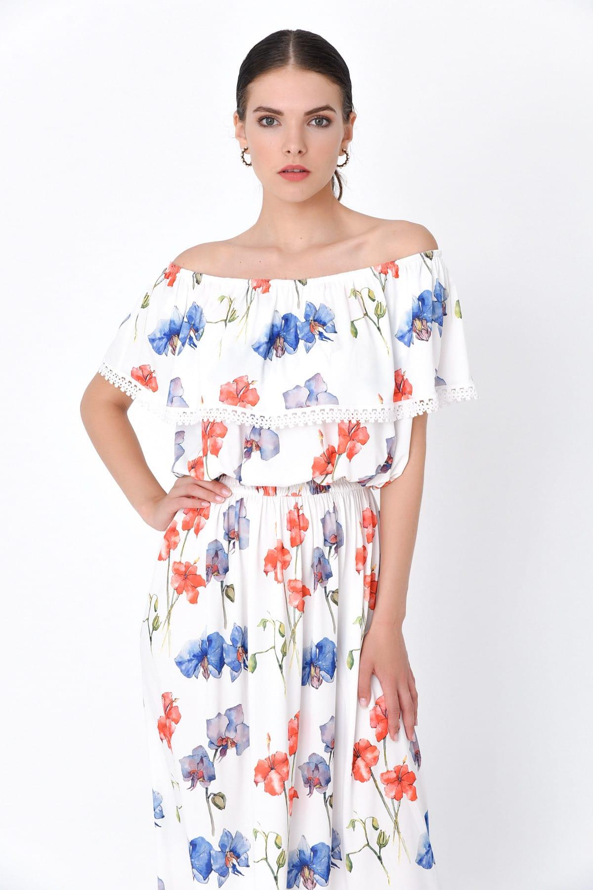 Hanna's by Hanna Darsa Kadın Beyaz Kayık Yaka Belden Lastikli Çiçek Desenli Elbise HN2016 2