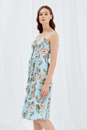 Journey Kadın Mavi Çiçekli Ön Tüm Düğme Detaylı İnce Askılı Arka Lastik Büzgülü Elbise 19YELB262