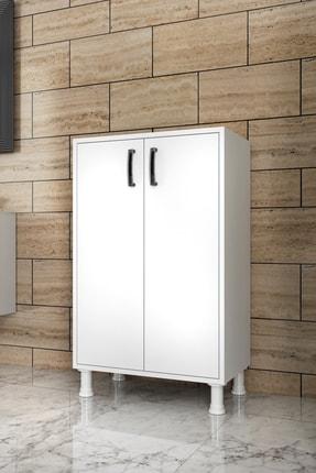 Rani Mobilya F3 Çok Amaçlı Dolap 2 Kapaklı 3 Raflı Banyo Balkon Mutfak Dolabı Beyaz M8