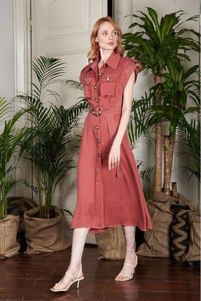 Urban Muse Kadın Pembe Safari Elbise URBAN250