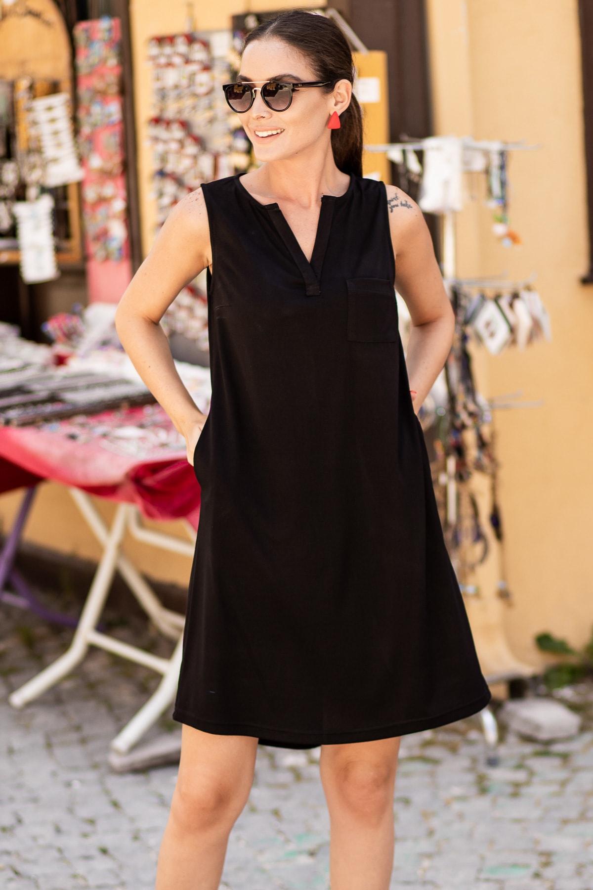 armonika Kadın Siyah Cepli Midi Boy Elbise ARM-19Y001122 2