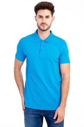 Kiğılı Erkek Turkuaz Polo Yaka Düz Slimfit T-Shirt - 9093