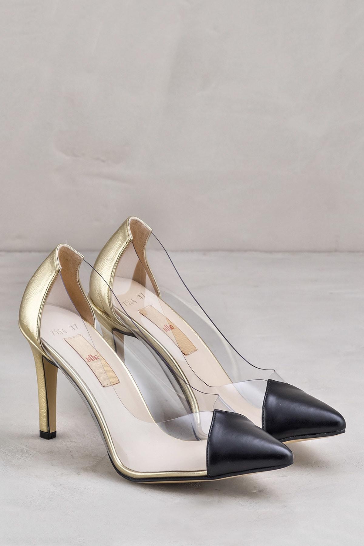 Elle Shoes ADULIA Siyah Altın Kadın Topuklu Ayakkabı 2