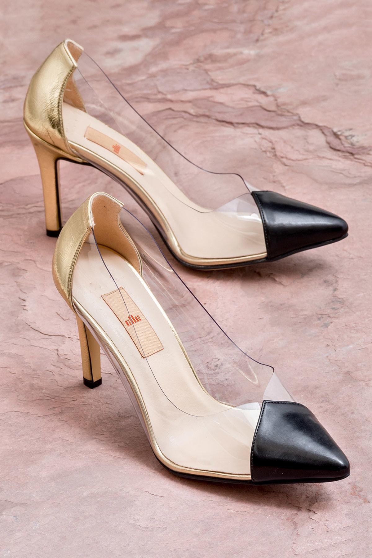 Elle Shoes ADULIA Siyah Altın Kadın Topuklu Ayakkabı 1