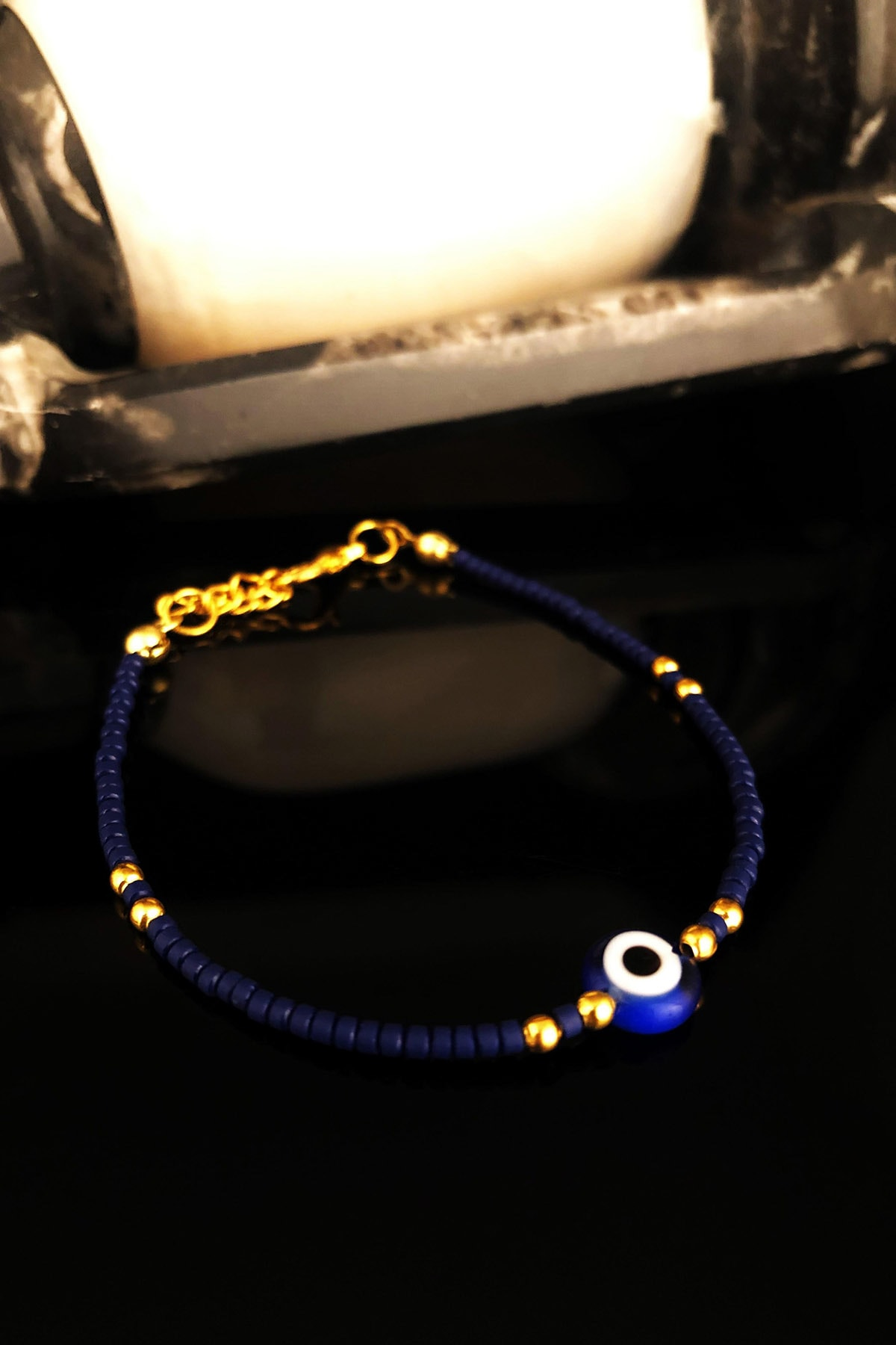 Dr. Stone Doğaltaş Kadın Lapis Lazuli Taşı Altın Kaplama Bileklik KRB426 1
