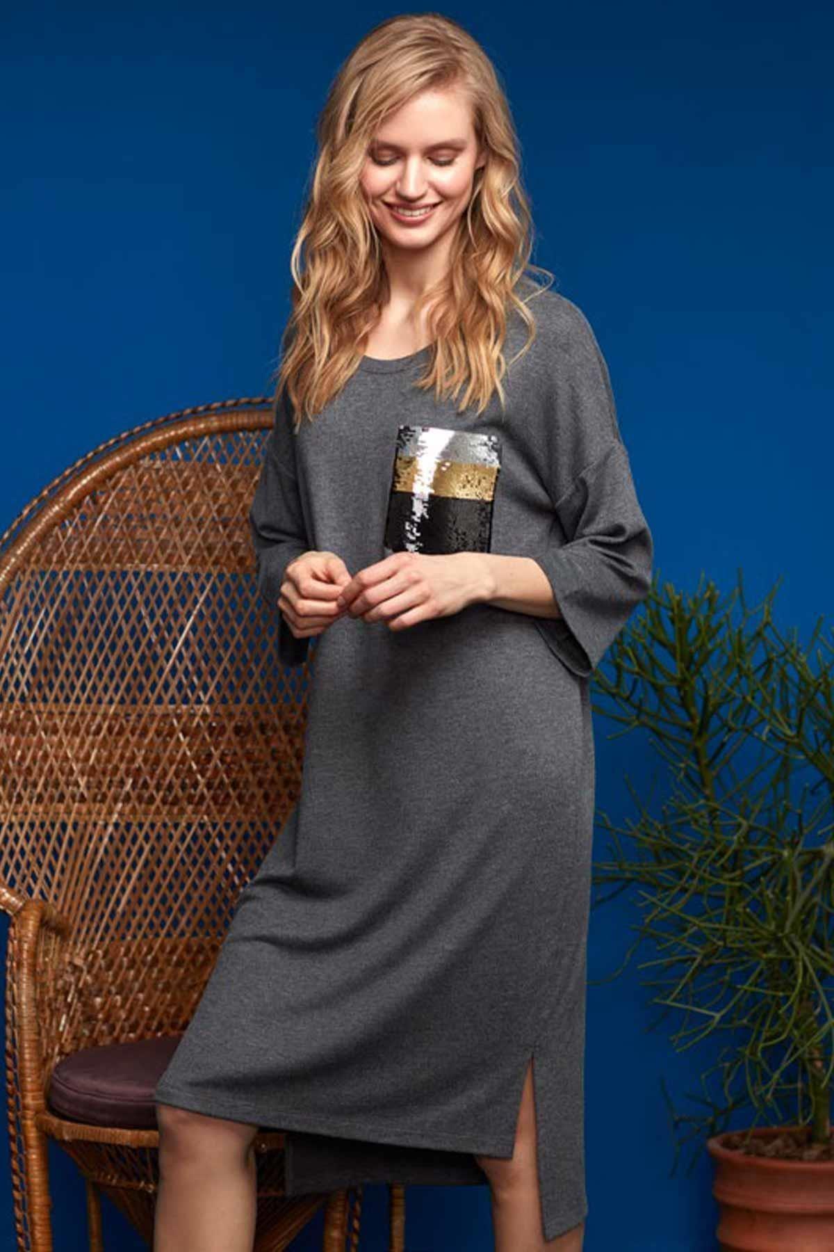 Penyemood Kadın Antrasit Elbise 8630