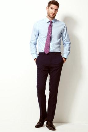 Marks & Spencer Erkek Sky Blue Pamuklu Slim Fit Gömlek T11002101S