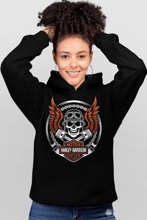Rock & Roll Motorcu Kurukafa Siyah Kapşonlu Kadın Sweatshirt